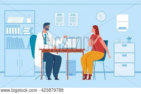 Doctor Consultation. Physician Consulting Or Diagnosing Patient In Office. Woman At Doctor Medical A