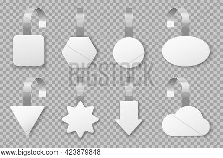 Wobblers. Blank Supermarket Promotion Tags, Retail Store Sale Advertising Labels. Realistic Shelf Wo