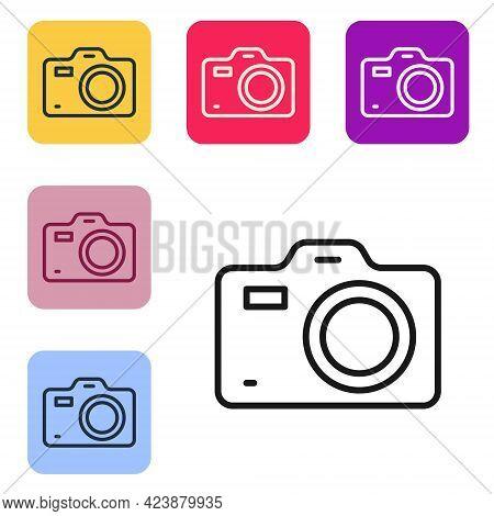 Black Line Photo Camera Icon Isolated On White Background. Foto Camera. Digital Photography. Set Ico