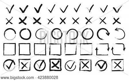 Hand Drawn Checkmarks. Black Doodle V Marks, Checklist Boxes. Grunge Tick And Cross Signs, Brush Str