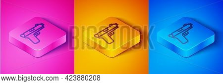 Isometric Line Pistol Or Gun Icon Isolated On Pink And Orange, Blue Background. Police Or Military H