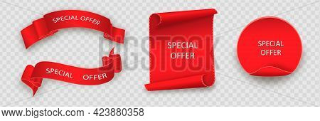 Special Offer Vector Ribbon.red Scroll. Banner Sale Tag. Market Special Offer Discount