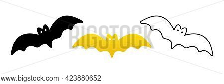 Set, Collection Of Minimalistic Bat Icons For Bat Night And Halloween Deign. Black, Outlined, Golden