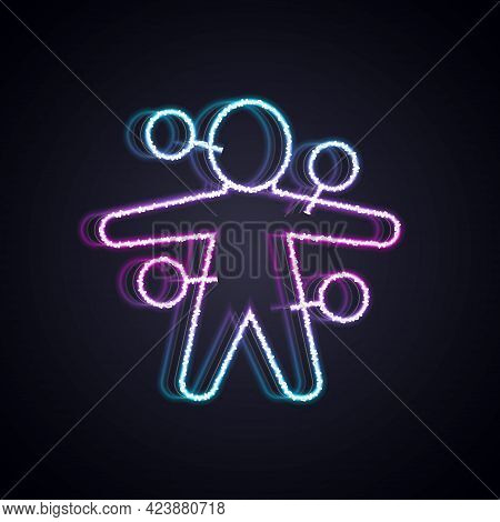 Glowing Neon Line Voodoo Doll Icon Isolated On Black Background. Vector