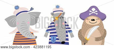 Set Of Cute Cartoon Animals On White Isolated Background. Funny Sailor Elephant, Anteater, Sloth Pir
