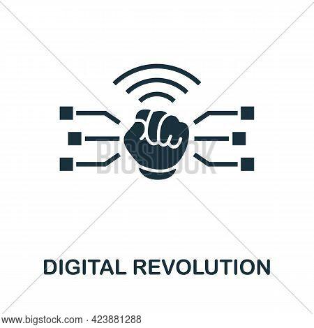 Digital Revolution Icon. Simple Creative Element. Filled Monochrome Digital Revolution Icon For Temp