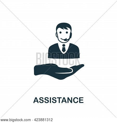 Assistance Icon. Simple Creative Element. Filled Monochrome Assistance Icon For Templates, Infograph
