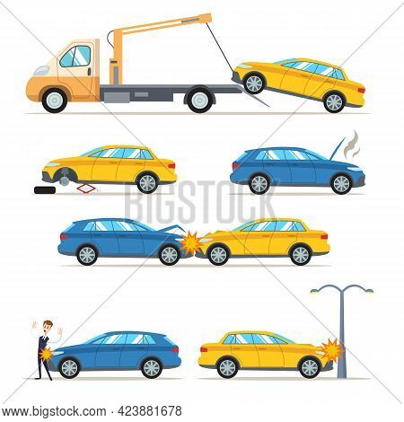 Car Accidents And Crashes On Road Vector Illustrations Set. Man Hit By Transport, Wheel Change, Tow