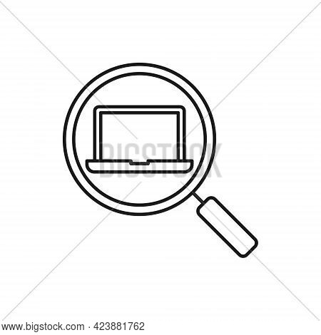 Laptop with Search icon. Laptop icon. Laptop vector. Laptop Search icon. Laptop icon vector. Laptop screen icon. Laptop Computer icon. Laptop button. Laptop symbol. Laptop sign. Laptop with Search icon design for website, logo, sign, symbol, app