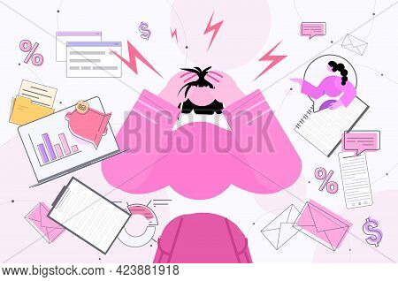 Multitasking Tired Businesswoman Busy Overworked Business Woman Anger Aggression Stress Depression N
