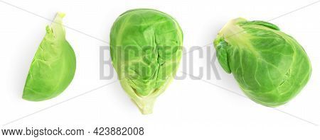 Brussel Sprouts Heap Isolated On White Background. Fresh Brussels Cabbage, Creative Layout