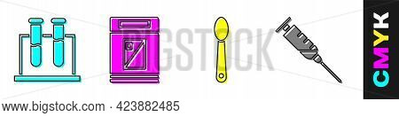 Set Test Tube And Flask, Cigarettes Pack Box, Heroin In A Spoon And Syringe Icon. Vector