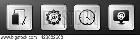 Set Phone And Graphic Tablet, Mail And E-mail, Clock And Mail And E-mail Icon. Silver Square Button.