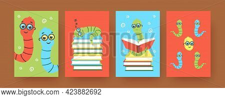 Set Of Contemporary Art Posters With Cute Cartoon Bookworms. Vector Illustration. .colorful Collecti