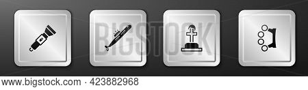 Set Flashlight, Submarine, Soldier Grave And Brass Knuckles Icon. Silver Square Button. Vector