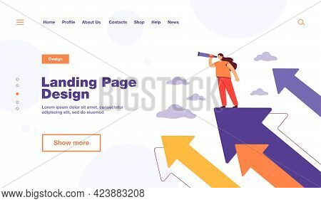 Tiny Woman Standing On Arrow And Looking For Future Plans For Success Flat Vector Illustration. Cart