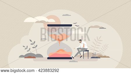 Patience And Slow Time Feeling With Boring Sitting Scene Tiny Person Concept. Idle Business Or Perse