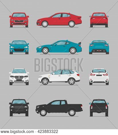 Vector Cars. Side View, Front View, Back View, Top View. Cartoon Flat Illustration, Car For Graphic