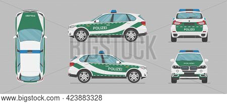 German Police Car. Side View, Front View, Back View, Top View. Cartoon Flat Illustration, Auto For G