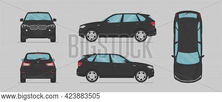 Vector Black Suv Car. Side View, Front View, Back View, Top View. Cartoon Flat Illustration, Car For