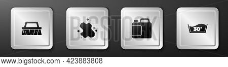 Set Brush For Cleaning, Water Spill, Bottle Agent And Temperature Wash Icon. Silver Square Button. V