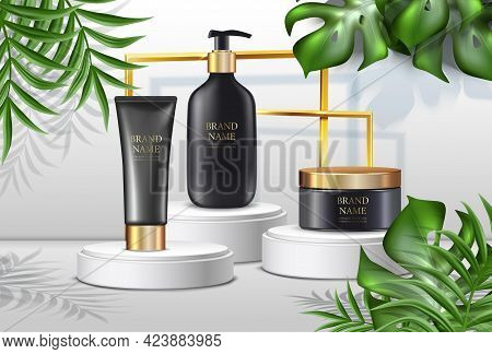 Vector Summer Cosmetics Background, Advertisement With Palms Ans Black Cream Bottles With Golden Lid