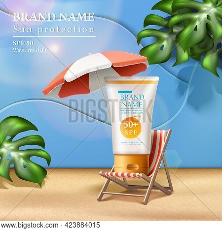 Vector Summer Sunscreen Protection Banner With Cream Bottle On The Sunbed Under Umbrella With Sunbea