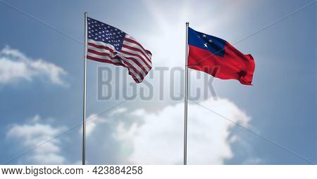 American and samoa flag waving against clouds in blue sky. international relations and affairs concept