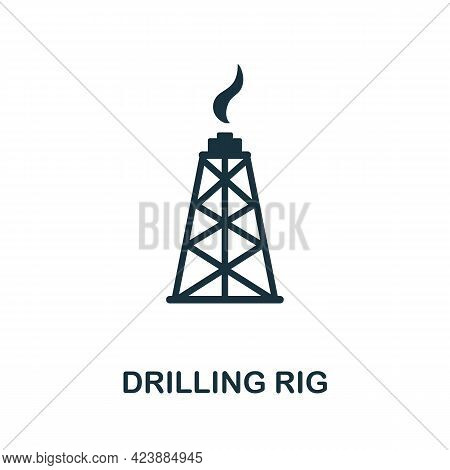 Drilling Rig Icon. Monochrome Simple Element From Oil Industry Collection. Creative Drilling Rig Ico