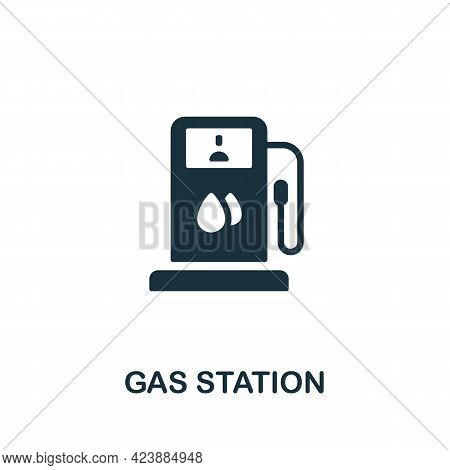 Gas Station Icon. Monochrome Simple Element From Oil Industry Collection. Creative Gas Station Icon