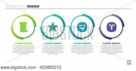Set Decree, Parchment, Scroll, Pentagram, Earth Element And Aries Zodiac. Business Infographic Templ
