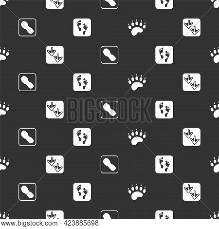 Set Bear Paw Footprint, Goose, Human Footprints Shoes And On Seamless Pattern. Vector