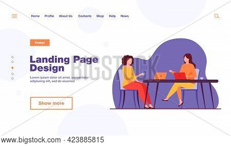 Two Women Sitting In Cafe With Laptops. Drink, Computer, Work Flat Vector Illustration. Meeting And