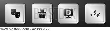 Set Comedy And Tragedy Masks, Ancient Amphorae, Column And Zeus Icon. Silver Square Button. Vector
