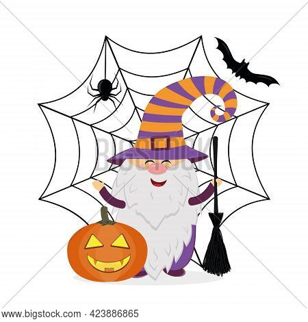 A Gnome In A Halloween Costume With A Pumpkin And A Broom On The Background Of A Spider Web And A Sp
