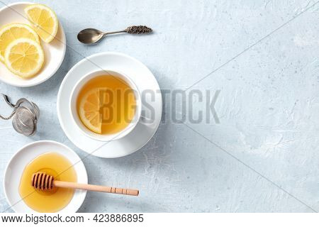 Lemon Tea With Honey Banner, Overhead Flat Lay Shot With Copy Space. Healthy Organic Citrus Detox Be