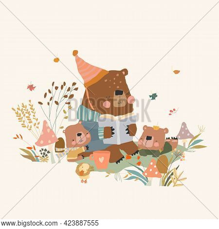 Cute Cartoon Bear Mother Reading Book For Her Cubs