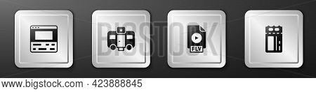 Set Video Recorder On Laptop, Actor Trailer, Flv File Document And Cinema Ticket Icon. Silver Square