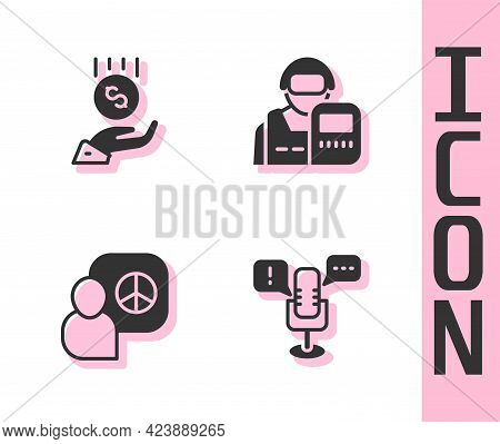 Set Freedom Of Speech, Coins On Hand - Minimal Wage, Peace Talks And Police Officer Icon. Vector
