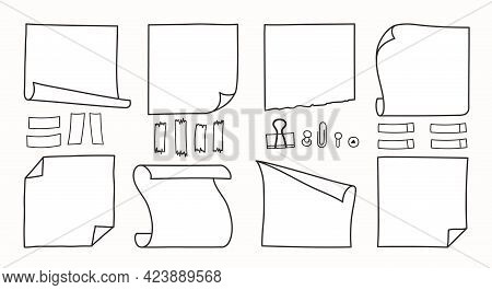 Doodle Hand Drawn Memo Notes And Reminders Vector Llustration Set. Simple Drawing Doodle Style Sketc