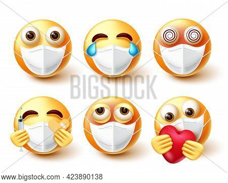 Emoji Covid-19 Vector Set. Emoticons 3d Characters In Face Mask With Expressions Of Sick, Dizzy And