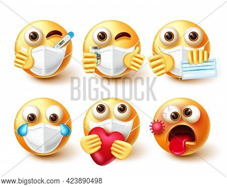 Emoji Covid-19 Vector Set. Emoticon Character In 3d With Face Mask, Vaccine And Thermometer Elements