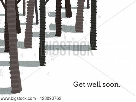 Composition of well wishes text with trees on white background. get well wishes and communication concept digitally generated image.