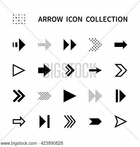 Arrows Vector Line Icons. Collection Of Black Arrows On White Background. Black Arrows Symbol Vector