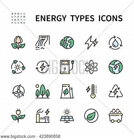 Types Of Energy Vector Color Icons. Isolated Color Icon Collection Of Energy Types On White Backgrou