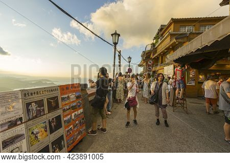New Taipei City, Taiwan - August 7, 2018 : Crowd Of Tourists Sightseeing At Jiufen Old Street Lookin