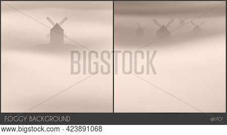 Windmills On Hill. Foggy Clouds. Abstract Fog Waves. Country Landscape