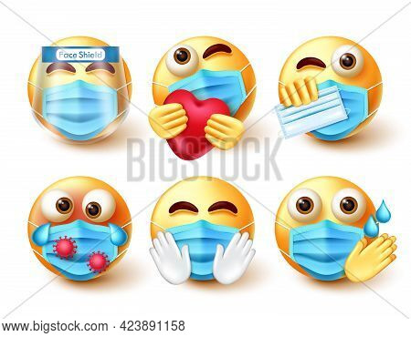 Emoji Covid-19 Vector Set. Emojis Character In 3d With New Normal Safety Guidelines Elements Like Fa
