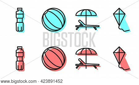Set Line Sunbed And Umbrella, Bottle Of Water, Beach Ball And Kite Icon. Vector