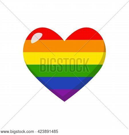Lgbtq Rainbow Heart. Lgbtq Community Sign. Vector Illustration